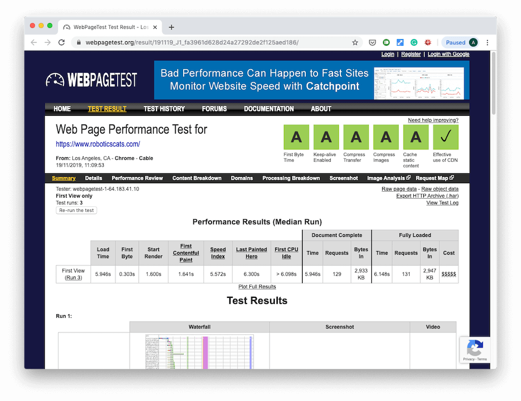 webpagetest.org result
