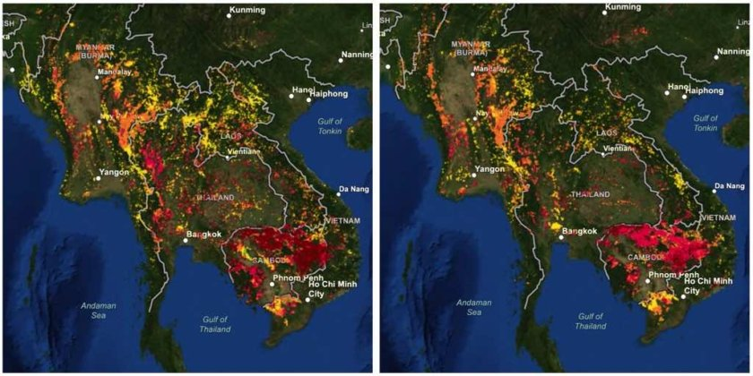 Carbon and Carbon Dioxide Emissions from Active Fires of Upper ASEAN and Thailand
