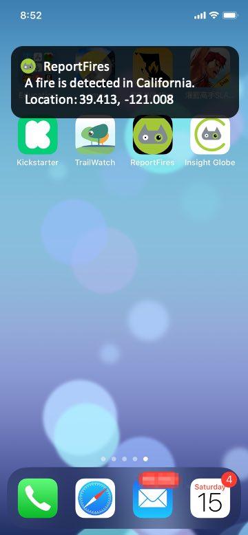 Figure 2: ReportFires app notification